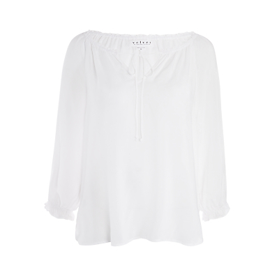 Kimberley Top - pattern: plain; sleeve style: balloon; predominant colour: white; occasions: casual, creative work; length: standard; style: top; neckline: peep hole neckline; fibres: viscose/rayon - 100%; fit: body skimming; sleeve length: 3/4 length; pattern type: fabric; texture group: jersey - stretchy/drapey; season: s/s 2016; wardrobe: basic