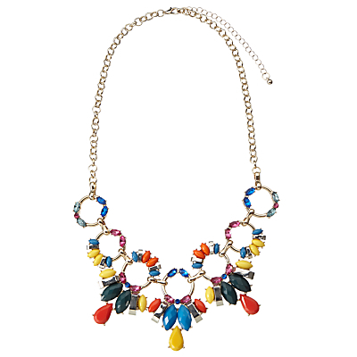 Mixed Stone Statement Collar Necklace, Gold/Multi - predominant colour: gold; occasions: evening, occasion; length: mid; size: large/oversized; material: chain/metal; finish: metallic; embellishment: jewels/stone; style: bib/statement; multicoloured: multicoloured; season: s/s 2016; wardrobe: event