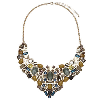 Cabochon Tribal Collar Necklace, Green/Multi - predominant colour: gold; occasions: evening, occasion; length: mid; size: large/oversized; material: chain/metal; finish: plain; embellishment: jewels/stone; style: bib/statement; multicoloured: multicoloured; season: s/s 2016; wardrobe: event
