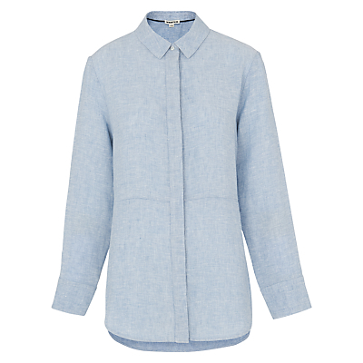 Alice Linen Shirt, Blue - neckline: shirt collar/peter pan/zip with opening; style: shirt; secondary colour: white; predominant colour: pale blue; occasions: casual, creative work; length: standard; fibres: linen - 100%; fit: body skimming; sleeve length: long sleeve; sleeve style: standard; texture group: linen; pattern type: fabric; pattern size: light/subtle; pattern: marl; season: s/s 2016; wardrobe: highlight