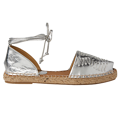 Syon Two Part Espadrilles - predominant colour: silver; occasions: casual, holiday; material: faux leather; heel height: flat; ankle detail: ankle tie; toe: open toe/peeptoe; finish: metallic; pattern: plain; style: espadrilles; season: s/s 2016; wardrobe: highlight