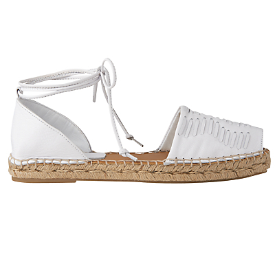 Syon Two Part Espadrilles - predominant colour: white; occasions: casual, holiday; material: faux leather; heel height: flat; ankle detail: ankle tie; toe: open toe/peeptoe; finish: metallic; pattern: plain; style: espadrilles; season: s/s 2016; wardrobe: highlight