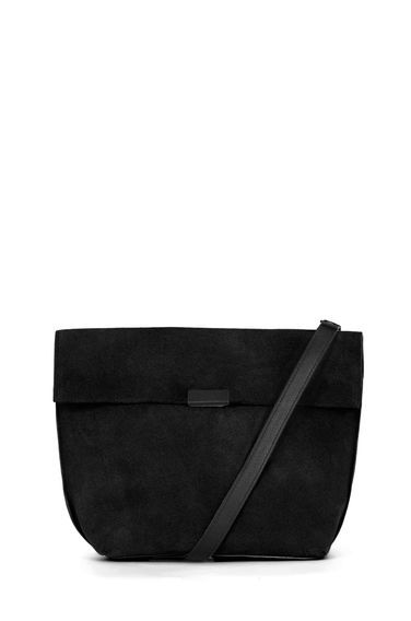 Exposed Seam Shoulder Bag - predominant colour: black; occasions: casual, creative work; type of pattern: standard; style: shoulder; length: shoulder (tucks under arm); size: standard; material: suede; pattern: plain; finish: plain; season: s/s 2016; wardrobe: investment