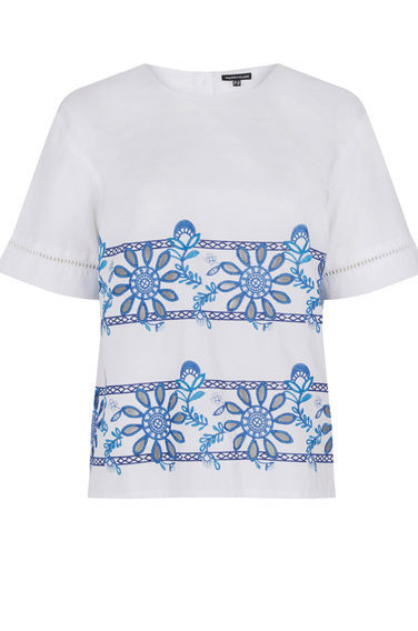 Embroidered T Shirt - neckline: round neck; style: t-shirt; predominant colour: white; secondary colour: pale blue; occasions: casual; length: standard; fibres: cotton - 100%; fit: straight cut; sleeve length: short sleeve; sleeve style: standard; pattern type: fabric; pattern: patterned/print; texture group: jersey - stretchy/drapey; embellishment: embroidered; season: s/s 2016; wardrobe: highlight