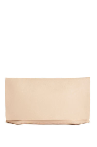 Premium Leather Clutch Bag - predominant colour: nude; occasions: evening, occasion; type of pattern: standard; style: clutch; length: hand carry; size: standard; material: leather; pattern: plain; finish: plain; season: s/s 2016; wardrobe: event