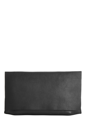 Premium Leather Clutch Bag - predominant colour: black; occasions: evening, occasion; type of pattern: standard; style: clutch; length: hand carry; size: standard; material: leather; pattern: plain; finish: plain; season: s/s 2016