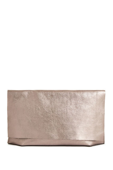 Premium Leather Clutch Bag - predominant colour: gold; occasions: evening, occasion; type of pattern: standard; style: clutch; length: hand carry; size: standard; material: leather; pattern: plain; finish: metallic; season: s/s 2016; wardrobe: event