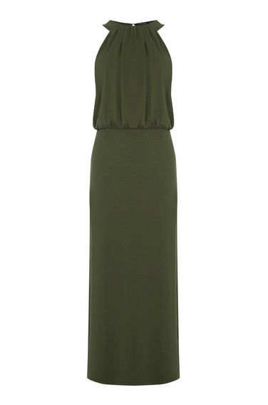 High Neck Midi Dress - fit: fitted at waist; pattern: plain; sleeve style: sleeveless; style: maxi dress; length: ankle length; predominant colour: dark green; fibres: viscose/rayon - stretch; occasions: occasion; sleeve length: sleeveless; pattern type: fabric; texture group: jersey - stretchy/drapey; season: s/s 2016; neckline: high halter neck; wardrobe: event
