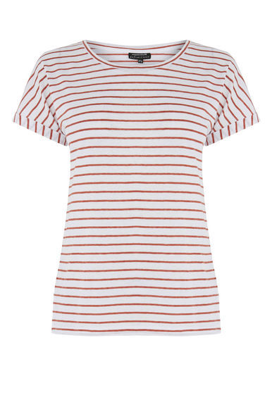 Breton Stripe Tee - pattern: horizontal stripes; style: t-shirt; predominant colour: white; secondary colour: burgundy; occasions: casual; length: standard; fibres: cotton - stretch; fit: body skimming; neckline: crew; sleeve length: short sleeve; sleeve style: standard; texture group: jersey - clingy; pattern type: fabric; pattern size: standard; season: s/s 2016; wardrobe: highlight