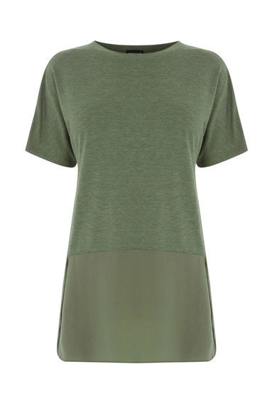 Woven Mix Short Sleeved Top - pattern: plain; style: t-shirt; predominant colour: khaki; occasions: casual; length: standard; fibres: viscose/rayon - stretch; fit: body skimming; neckline: crew; sleeve length: short sleeve; sleeve style: standard; pattern type: fabric; texture group: jersey - stretchy/drapey; season: s/s 2016; wardrobe: basic