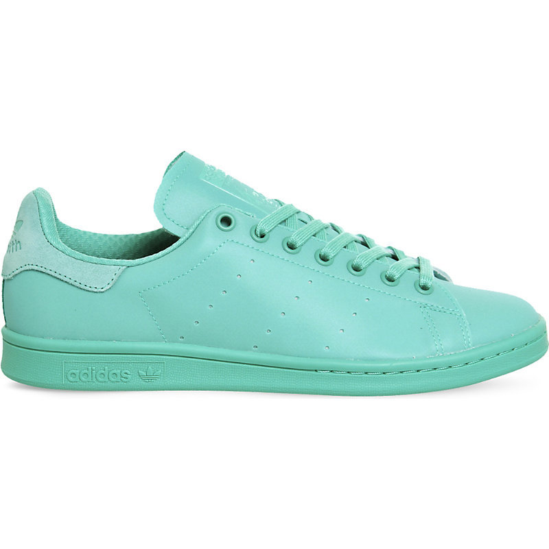 Stan Smith Leather Trainers, Women's, Shock Mint - predominant colour: mint green; occasions: casual; material: leather; heel height: flat; toe: round toe; style: trainers; finish: plain; pattern: plain; season: s/s 2016