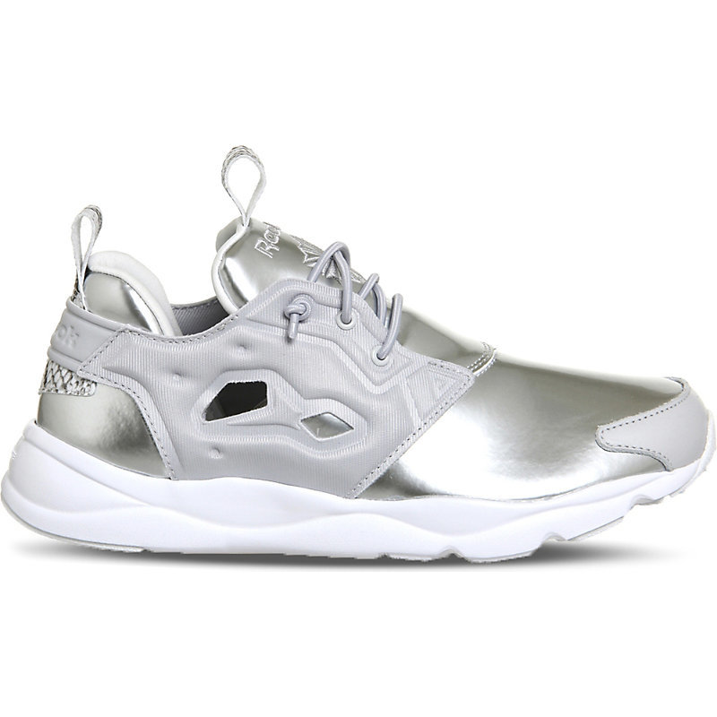 Furylite Metallic Trainers, Women's, Silver Snake - secondary colour: white; predominant colour: silver; occasions: casual, creative work; material: leather; heel height: flat; toe: round toe; style: trainers; finish: metallic; pattern: plain; shoe detail: platform; season: s/s 2016; wardrobe: highlight