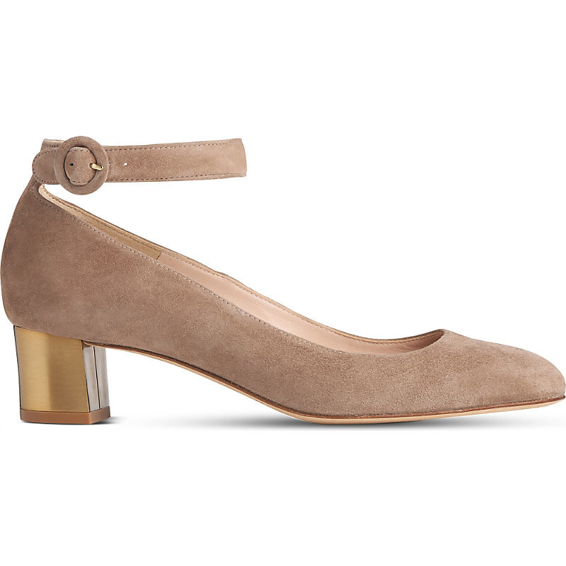 Parka Suede Court Shoes, Women's, Eur 37 / 4 Uk Women, Bro Latte - predominant colour: camel; occasions: evening; material: suede; heel height: mid; ankle detail: ankle strap; heel: block; toe: round toe; style: courts; finish: plain; pattern: plain; season: s/s 2016; wardrobe: event