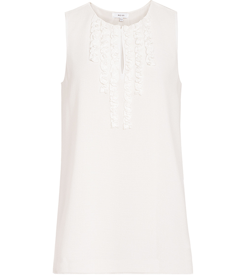 Seirra Ruffle Front Top - pattern: plain; sleeve style: sleeveless; style: vest top; predominant colour: white; occasions: casual; length: standard; neckline: peep hole neckline; fibres: cotton - 100%; fit: body skimming; sleeve length: sleeveless; pattern type: fabric; texture group: jersey - stretchy/drapey; season: s/s 2016