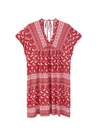 Flowy Print Dress - length: mid thigh; neckline: v-neck; sleeve style: capped; style: sundress; secondary colour: white; predominant colour: true red; occasions: casual; fit: body skimming; fibres: viscose/rayon - stretch; sleeve length: short sleeve; pattern type: fabric; pattern: patterned/print; texture group: jersey - stretchy/drapey; multicoloured: multicoloured; season: s/s 2016; wardrobe: highlight