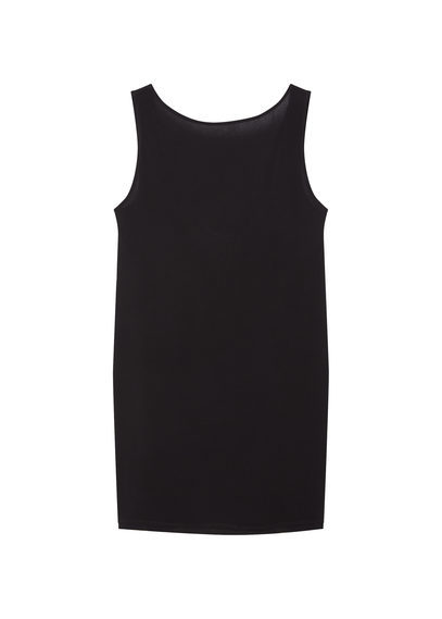 Open Back Dress - style: shift; neckline: slash/boat neckline; pattern: plain; sleeve style: sleeveless; predominant colour: black; occasions: evening; length: just above the knee; fit: body skimming; fibres: viscose/rayon - 100%; sleeve length: sleeveless; pattern type: fabric; texture group: jersey - stretchy/drapey; season: s/s 2016; wardrobe: event