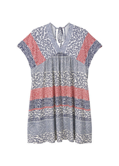 Flowy Print Dress - length: mid thigh; neckline: v-neck; sleeve style: capped; fit: loose; style: sundress; secondary colour: true red; predominant colour: denim; occasions: casual; fibres: viscose/rayon - stretch; sleeve length: short sleeve; pattern type: fabric; pattern: patterned/print; texture group: jersey - stretchy/drapey; multicoloured: multicoloured; season: s/s 2016; wardrobe: highlight
