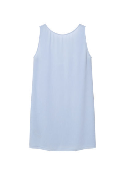 Open Back Dress - style: shift; length: mid thigh; pattern: plain; sleeve style: sleeveless; predominant colour: pale blue; occasions: evening; fit: body skimming; fibres: viscose/rayon - 100%; neckline: crew; sleeve length: sleeveless; pattern type: fabric; texture group: jersey - stretchy/drapey; season: s/s 2016