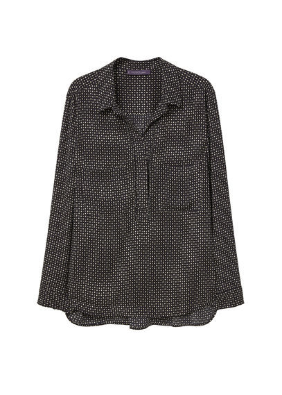 Printed Flowy Shirt - neckline: shirt collar/peter pan/zip with opening; style: shirt; pattern: polka dot; secondary colour: white; predominant colour: black; occasions: casual; length: standard; fibres: polyester/polyamide - 100%; fit: body skimming; sleeve length: long sleeve; sleeve style: standard; pattern type: fabric; texture group: other - light to midweight; multicoloured: multicoloured; season: s/s 2016; wardrobe: highlight