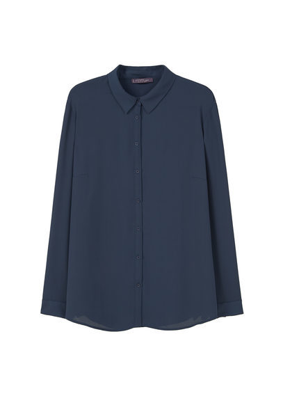 Flowy Blouse - neckline: shirt collar/peter pan/zip with opening; pattern: plain; style: shirt; predominant colour: navy; occasions: casual, creative work; length: standard; fibres: polyester/polyamide - 100%; fit: straight cut; sleeve length: long sleeve; sleeve style: standard; texture group: crepes; pattern type: fabric; season: s/s 2016; wardrobe: basic