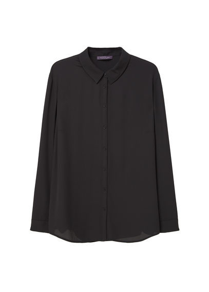Flowy Blouse - neckline: shirt collar/peter pan/zip with opening; pattern: plain; style: shirt; predominant colour: black; occasions: evening; length: standard; fibres: polyester/polyamide - 100%; fit: body skimming; sleeve length: long sleeve; sleeve style: standard; texture group: sheer fabrics/chiffon/organza etc.; pattern type: fabric; season: s/s 2016; wardrobe: event