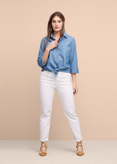 Light Denim Shirt - neckline: shirt collar/peter pan/zip with opening; pattern: plain; style: shirt; predominant colour: denim; occasions: casual, creative work; length: standard; fibres: cotton - 100%; fit: body skimming; sleeve length: long sleeve; sleeve style: standard; texture group: denim; pattern type: fabric; season: s/s 2016