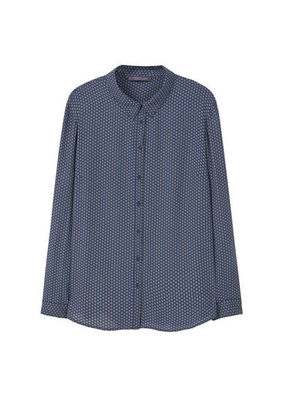 Flowy Printed Blouse - neckline: shirt collar/peter pan/zip with opening; style: shirt; pattern: polka dot; secondary colour: white; predominant colour: navy; occasions: casual; length: standard; fibres: polyester/polyamide - 100%; fit: body skimming; sleeve length: long sleeve; sleeve style: standard; pattern type: fabric; texture group: other - light to midweight; multicoloured: multicoloured; season: s/s 2016