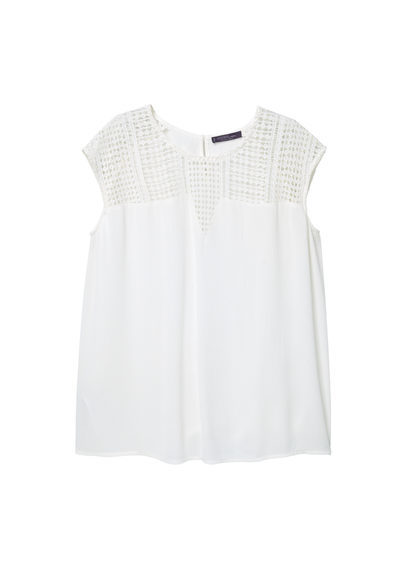 Openwork Panel Blouse - pattern: plain; sleeve style: sleeveless; predominant colour: white; occasions: casual; length: standard; style: top; fibres: polyester/polyamide - 100%; fit: body skimming; neckline: crew; sleeve length: sleeveless; texture group: crepes; pattern type: fabric; season: s/s 2016