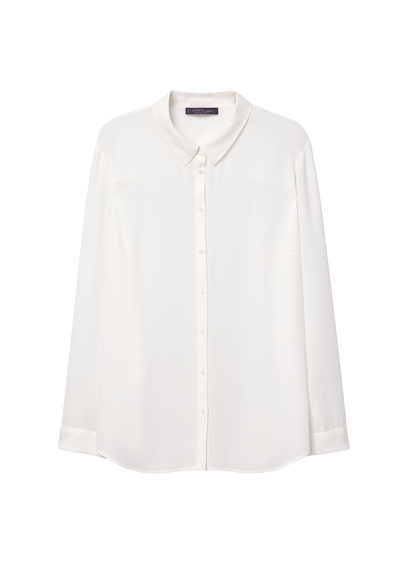 Flowy Blouse - neckline: shirt collar/peter pan/zip with opening; pattern: plain; style: blouse; predominant colour: white; occasions: casual, work; length: standard; fibres: polyester/polyamide - 100%; fit: body skimming; sleeve length: long sleeve; sleeve style: standard; pattern type: fabric; texture group: other - light to midweight; season: s/s 2016; wardrobe: basic