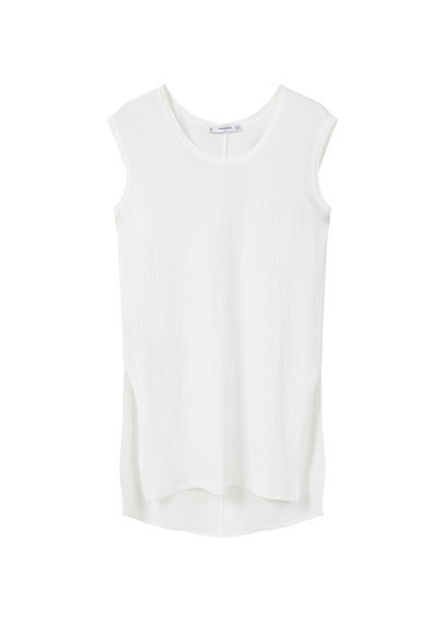 Side Slit T Shirt - pattern: plain; sleeve style: sleeveless; length: below the bottom; style: t-shirt; predominant colour: white; occasions: casual; fibres: polyester/polyamide - stretch; fit: body skimming; neckline: crew; sleeve length: sleeveless; pattern type: fabric; texture group: jersey - stretchy/drapey; season: s/s 2016; wardrobe: basic