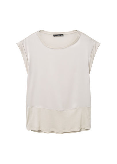 Contrasting T Shirt - sleeve style: capped; pattern: plain; style: t-shirt; predominant colour: ivory/cream; occasions: casual; length: standard; fibres: viscose/rayon - 100%; fit: body skimming; neckline: crew; sleeve length: short sleeve; pattern type: fabric; texture group: jersey - stretchy/drapey; season: s/s 2016; wardrobe: basic
