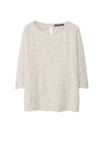 Embroidered Cotton Shirt - neckline: round neck; predominant colour: ivory/cream; occasions: casual; length: standard; style: top; fibres: cotton - 100%; fit: loose; sleeve length: 3/4 length; sleeve style: standard; pattern type: fabric; pattern: florals; texture group: woven light midweight; season: s/s 2016