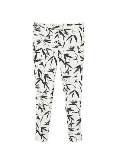 Printed Trousers - length: standard; waist: mid/regular rise; predominant colour: ivory/cream; secondary colour: black; occasions: casual, creative work; fibres: polyester/polyamide - stretch; fit: slim leg; pattern type: fabric; pattern: patterned/print; texture group: woven light midweight; style: standard; season: s/s 2016; wardrobe: highlight