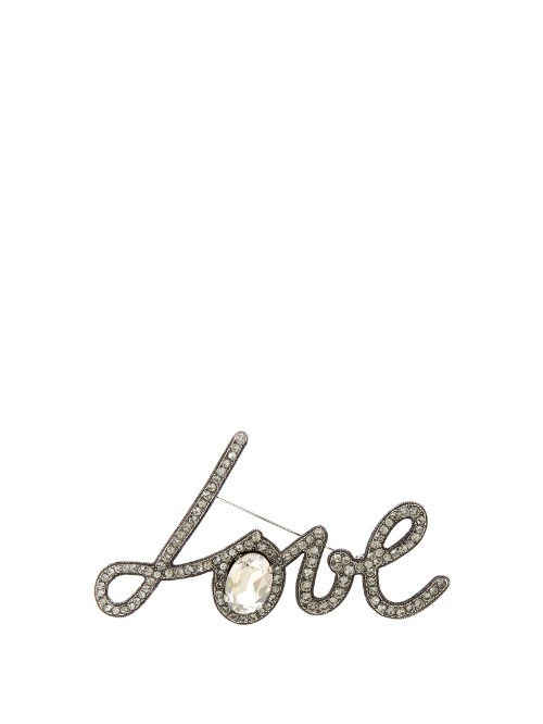 Love Crystal Embellished Brooch - occasions: casual, creative work; style: classic; size: large/oversized; material: chain/metal; finish: plain; embellishment: crystals/glass; predominant colour: pewter; season: s/s 2016