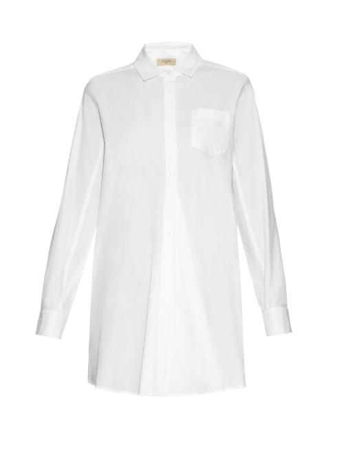 Leale Shirt - neckline: shirt collar/peter pan/zip with opening; pattern: plain; length: below the bottom; style: shirt; predominant colour: white; occasions: casual; fibres: cotton - 100%; fit: straight cut; sleeve length: long sleeve; sleeve style: standard; texture group: cotton feel fabrics; pattern type: fabric; season: s/s 2016