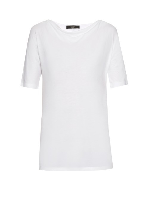 Multia T Shirt - neckline: round neck; sleeve style: capped; pattern: plain; length: below the bottom; style: t-shirt; predominant colour: white; occasions: casual; fibres: cotton - mix; fit: body skimming; sleeve length: short sleeve; pattern type: fabric; texture group: jersey - stretchy/drapey; season: s/s 2016; wardrobe: basic