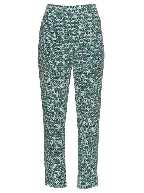 Erryn Trousers - length: standard; waist: mid/regular rise; predominant colour: emerald green; occasions: casual, creative work; fibres: viscose/rayon - 100%; texture group: crepes; fit: slim leg; pattern type: fabric; pattern: patterned/print; style: standard; pattern size: standard (bottom); season: s/s 2016; wardrobe: highlight