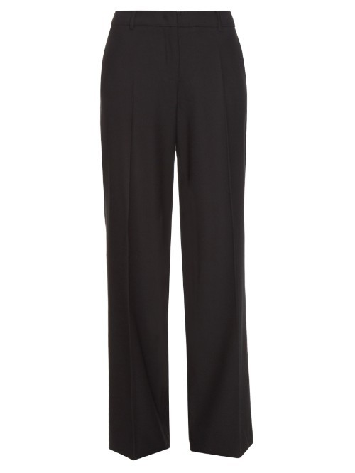 Tenue Trousers - length: standard; pattern: plain; waist: mid/regular rise; predominant colour: navy; occasions: work; fibres: wool - mix; fit: straight leg; pattern type: fabric; texture group: other - light to midweight; style: standard; season: s/s 2016; wardrobe: basic