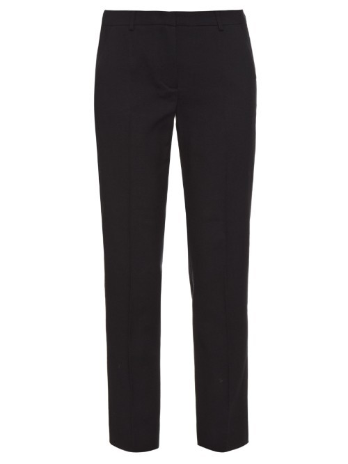 Lecito Trousers - length: standard; pattern: plain; waist: mid/regular rise; predominant colour: black; occasions: work, creative work; fibres: viscose/rayon - stretch; fit: slim leg; pattern type: fabric; texture group: other - light to midweight; style: standard; season: s/s 2016; wardrobe: basic