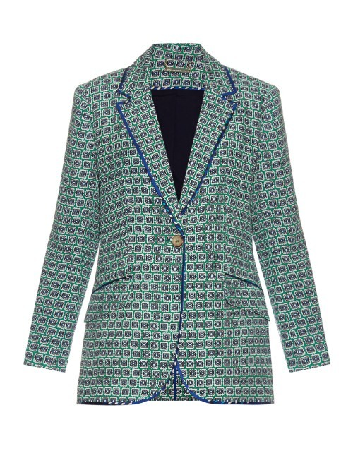 Roslyn Jacket - style: single breasted blazer; collar: standard lapel/rever collar; secondary colour: navy; predominant colour: pistachio; occasions: casual, creative work; length: standard; fit: tailored/fitted; fibres: viscose/rayon - 100%; sleeve length: 3/4 length; sleeve style: standard; collar break: medium; pattern type: fabric; pattern: patterned/print; texture group: woven light midweight; pattern size: big & busy (top); season: s/s 2016; wardrobe: highlight