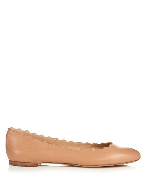 Lauren Scallop Edged Leather Flats - predominant colour: camel; occasions: casual, work, creative work; material: leather; heel height: flat; toe: round toe; style: ballerinas / pumps; finish: plain; pattern: plain; season: s/s 2016; wardrobe: basic