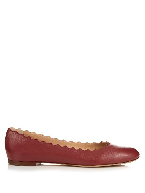Lauren Scallop Edged Leather Flats - predominant colour: burgundy; occasions: casual, work, creative work; material: leather; heel height: flat; toe: round toe; style: ballerinas / pumps; finish: plain; pattern: plain; season: s/s 2016