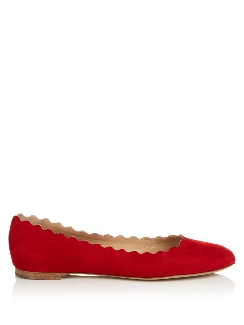 Lauren Scallop Edged Suede Flats - predominant colour: true red; occasions: casual, creative work; material: suede; heel height: flat; toe: round toe; style: ballerinas / pumps; finish: plain; pattern: plain; season: s/s 2016; wardrobe: highlight