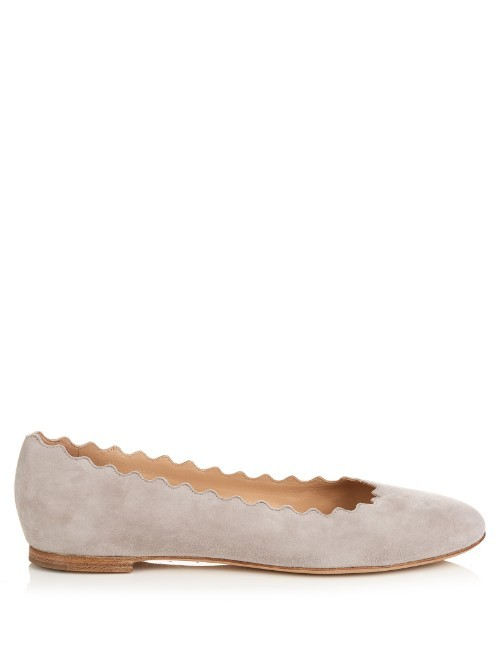Lauren Scallop Edged Suede Flats - predominant colour: light grey; occasions: casual, work, creative work; material: suede; heel height: flat; toe: round toe; style: ballerinas / pumps; finish: plain; pattern: plain; season: s/s 2016; wardrobe: basic