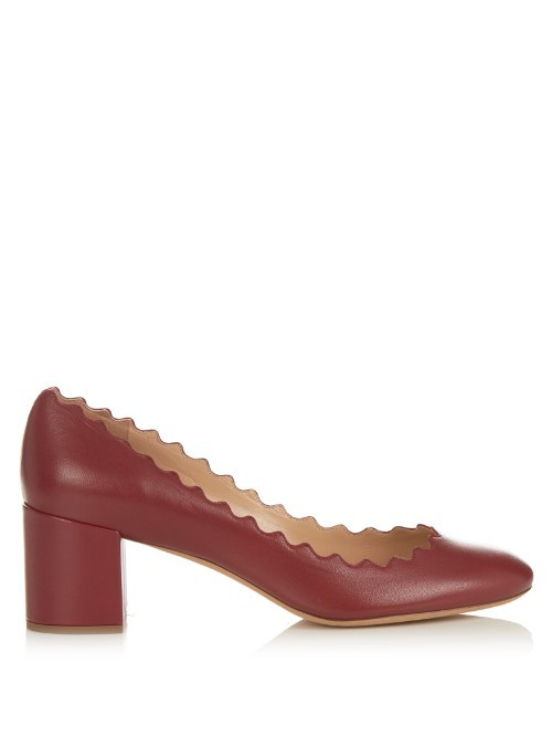 Lauren Scallop Edged Leather Pumps - predominant colour: burgundy; occasions: work; material: leather; heel height: high; heel: block; toe: round toe; style: courts; finish: plain; pattern: plain; season: s/s 2016; wardrobe: highlight