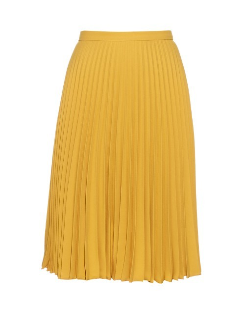 Lolly Skirt - pattern: plain; fit: loose/voluminous; style: pleated; waist: high rise; predominant colour: mustard; length: on the knee; pattern type: fabric; texture group: other - light to midweight; fibres: viscose/rayon - mix; occasions: creative work; season: s/s 2016