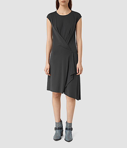 Breeze Devo Dress - sleeve style: capped; pattern: plain; predominant colour: black; occasions: evening; length: on the knee; fit: body skimming; style: asymmetric (hem); fibres: viscose/rayon - 100%; neckline: crew; sleeve length: short sleeve; pattern type: fabric; texture group: jersey - stretchy/drapey; season: s/s 2016; wardrobe: event