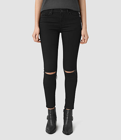 Grace Slashed Jeans - style: skinny leg; pattern: plain; pocket detail: traditional 5 pocket; waist: mid/regular rise; predominant colour: black; occasions: casual; length: ankle length; fibres: cotton - stretch; texture group: denim; pattern type: fabric; jeans detail: rips; season: s/s 2016; wardrobe: basic