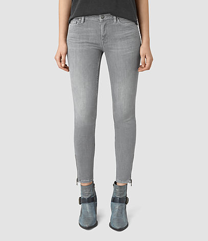 Mast Ankle Zip Jeans - style: skinny leg; pattern: plain; pocket detail: traditional 5 pocket; waist: mid/regular rise; predominant colour: light grey; occasions: casual; length: ankle length; fibres: cotton - stretch; texture group: denim; pattern type: fabric; season: s/s 2016