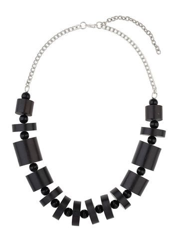 Womens Wooden Cylinder Necklace Black - predominant colour: black; occasions: casual, holiday, creative work; length: short; size: large/oversized; material: chain/metal; finish: plain; embellishment: beading; style: bib/statement; season: s/s 2016; wardrobe: highlight